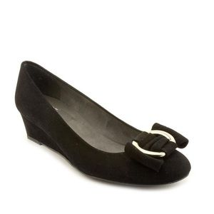 Stuart Weitzman Caring Black Suede Wedge Pump 5